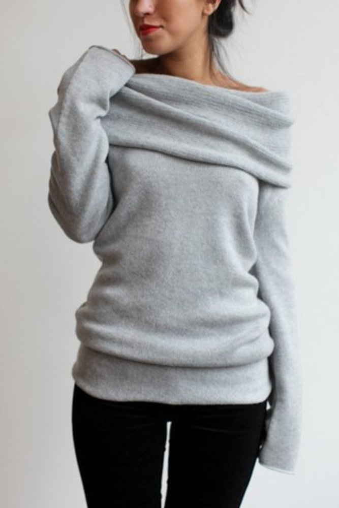 Cashmere cowl neck slouchy sweater fashion style