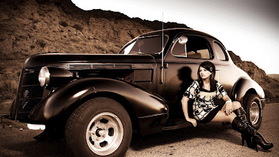 Vintage Car and Girl Old Looking Photo HD Car Wallpaper