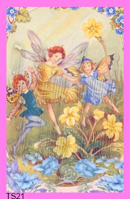 vintage fairies dancing in buttercup flowers