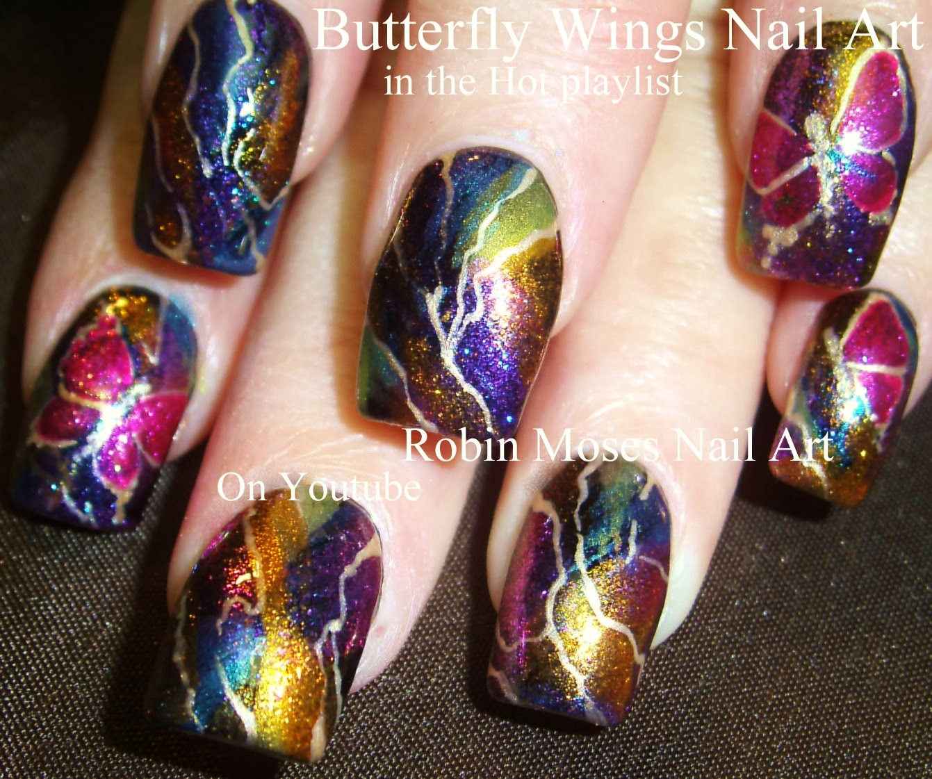 Black Opal Butterfly Nail Art