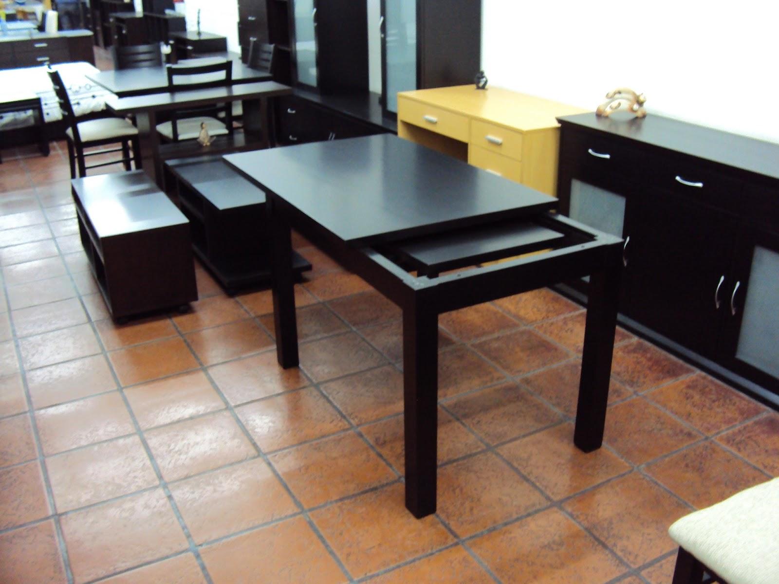 Mesa extensible recta con vuelo lustre wengue - Mesas de comedor de diseno extensibles ...