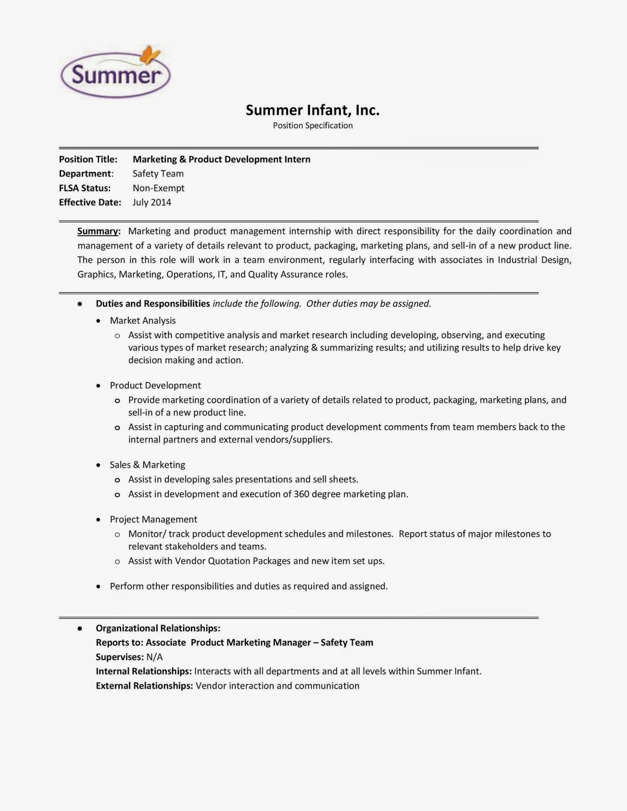 Summer Infant, Inc.   Marketing U0026 Product Development Intern