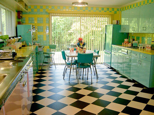 this bright turquoise and yellow 1950 39 s time capsule kitchen is pretty