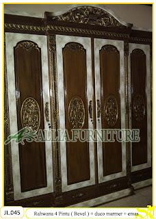Lemari Pakaian Ukiran Rahwana 4Pintu ( Bevel ) cat duco marmer dan emas