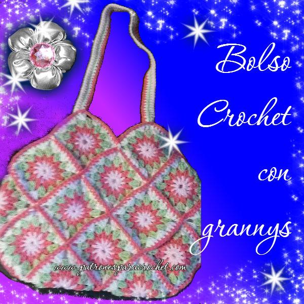 Bolso tejido al crochet con grannys tutorial