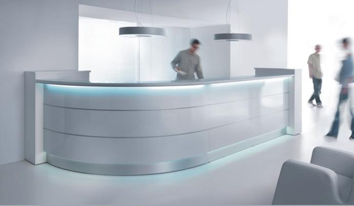 colour up your office bin ich jetzt im tv auf sendung mit empfangstheken in high gloss. Black Bedroom Furniture Sets. Home Design Ideas