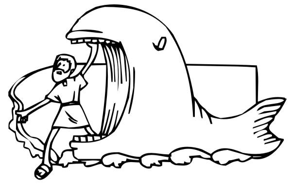 desenho bíblico para pintar jonas e a baleia 2