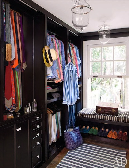designer closet, goyard tote, window seat, color coded closet and shoes