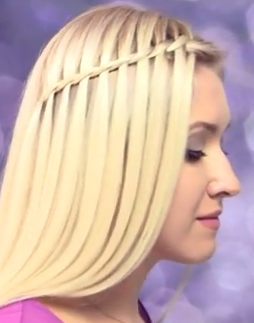 Twisted waterfall braid hairstyle tutorial