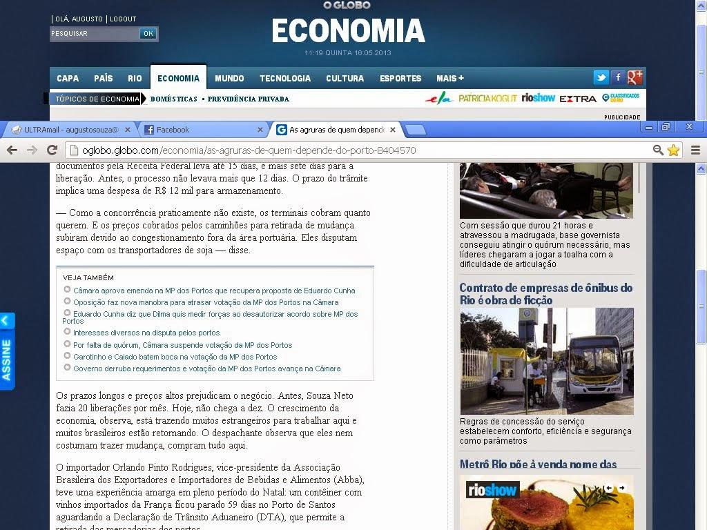 Reportagem jornal O Globo comigo sobre a MP dos portos 16/05/2013 parte2