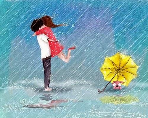 Ảnh hoạt hình lãng mạn trong mưa