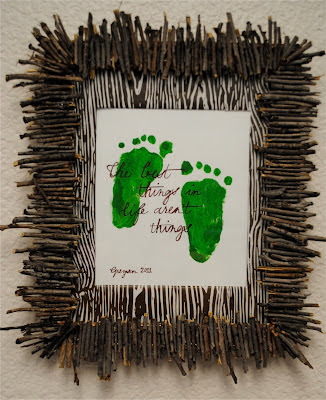 Creative Footprint Keepsake Wall Hanging with Saying
