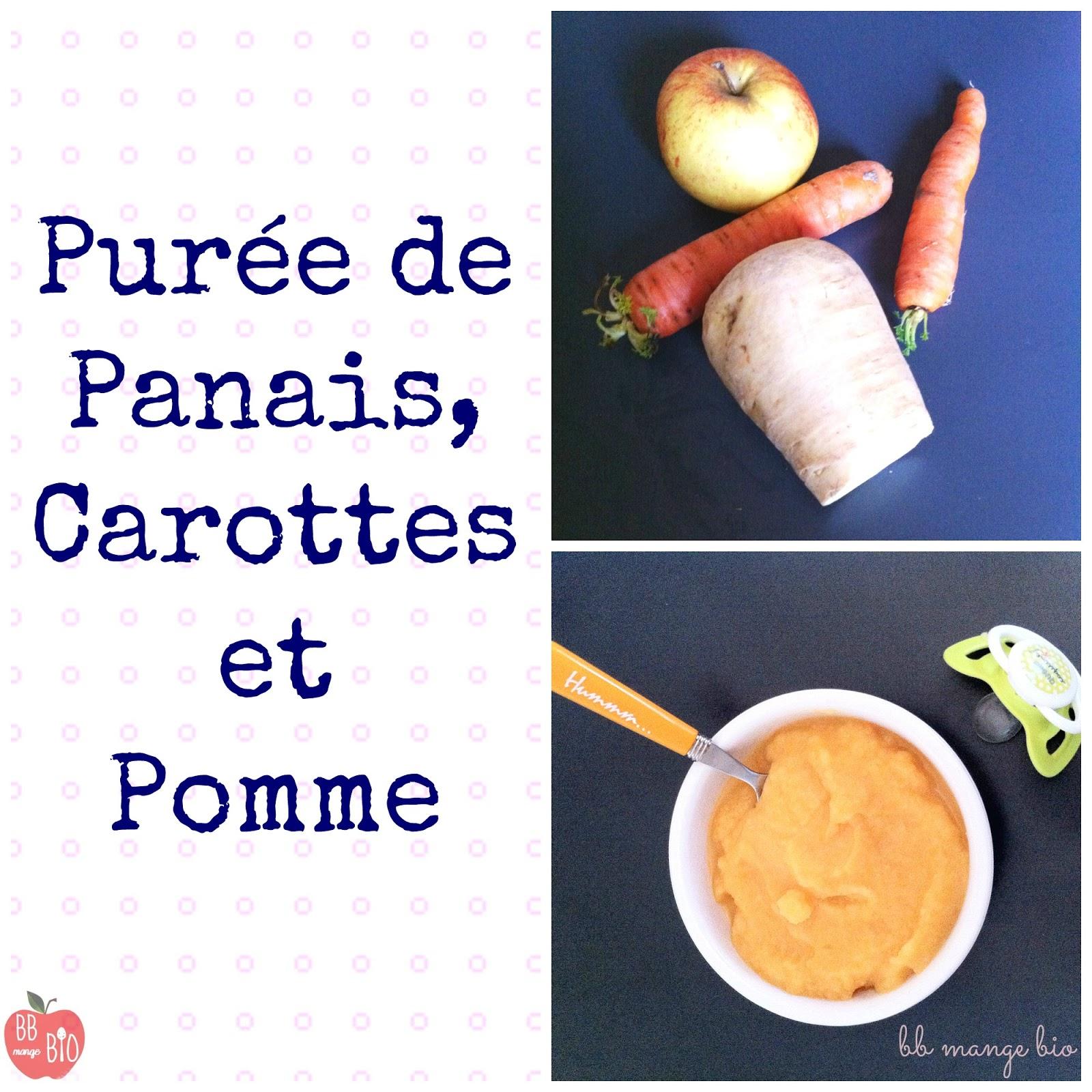 BB mange bio purée de panais, carottes et pomme. A partir de 6 mois. Sans gluten
