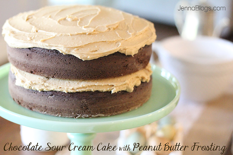 Jenna Blogs: Chocolate Sour Cream Cake with Peanut Butter Frosting