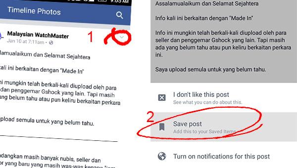 simpan artikel dan gambar dalam facebook