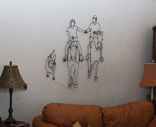 The art of up cycling wire art barbed wire art wire for Dog wire art