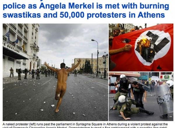 Τα πρωτοσέλιδα του διεθνούς τύπου και οι αντιδράσεις των ξένων για τις διαδηλώσεις κατά την επίσκεψη της Μέρκελ στην Ελλάδα.