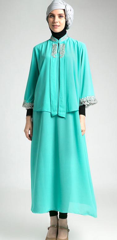 Contoh trend model baju muslim kaftan terbaru 2015 new style for