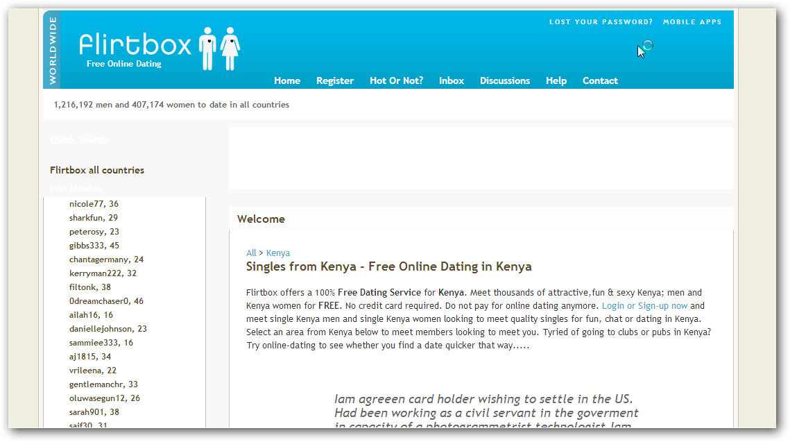 Free online kenyan dating sites