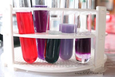 Colored solutions in test tubes for pH test with cabbage; from STEMmom.org
