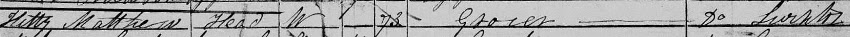 1851 census entry for Kitty Matthew at Barton-le-Willows