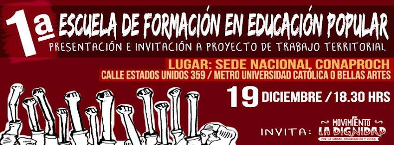 SANTIAGO:  1ra  ESCUELA DE FORMACIÓN EN EDUCACIÓN POPULAR