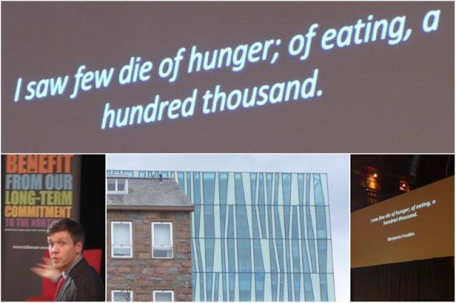 Conferencia Por que morimos (Why We Die) dada por Simon Watt en el Auditorio de la Universidad de Aberdeen durante el Festival de Mayo 2013