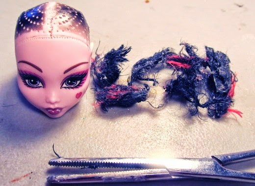 Remove hair from monster high doll