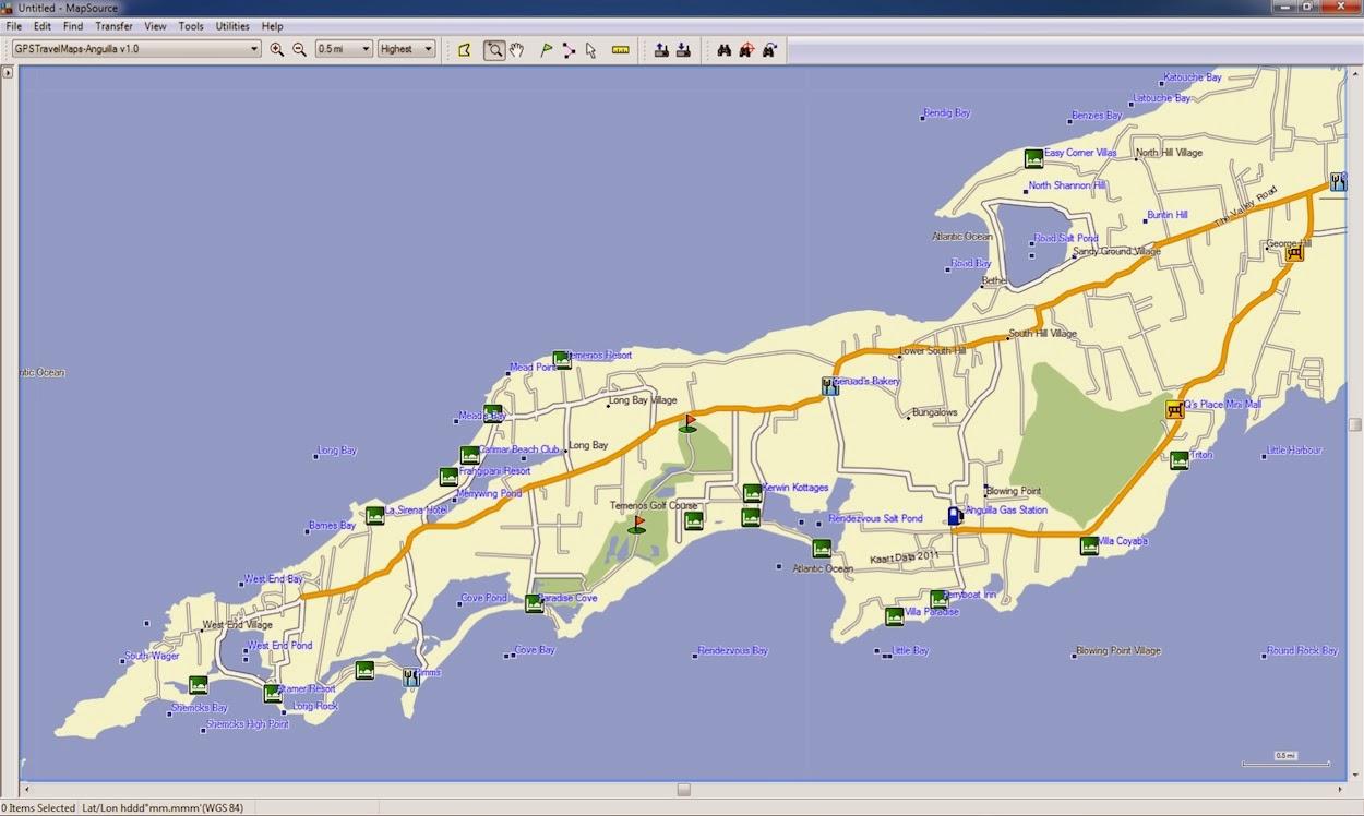 Hotel, Restaurant, Anguilla, Caribbean, Island, Map
