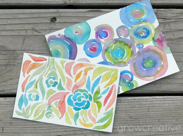 Original Abstract Watercolor Paintings, circles and florals