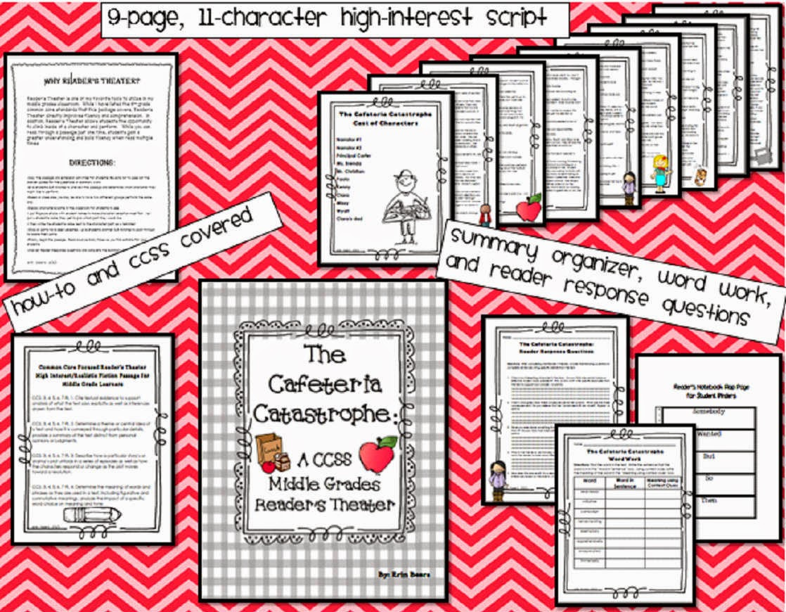 http://www.teacherspayteachers.com/Product/Readers-Theater-for-the-Middle-Grades-The-Cafeteria-Catastrophe-A-CCSS-Pack-881050