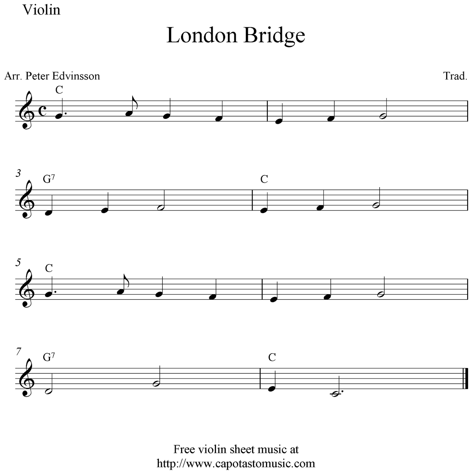 London Bridge, Easy Free Violin Sheet Music Notes