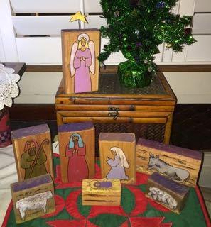 Folk art block nativity