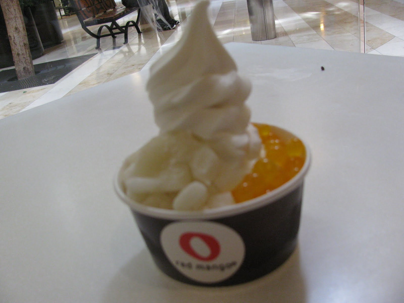 I Tasted A Plain Soft Serve Yogurt With Chocolate Chips And Fresh Mangos  And A Vanilla Soft Serve Yogurt With Mochi Bits And Funny Little Balls That  Popped