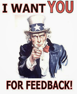 This is a picture of a man saying he want your feedback