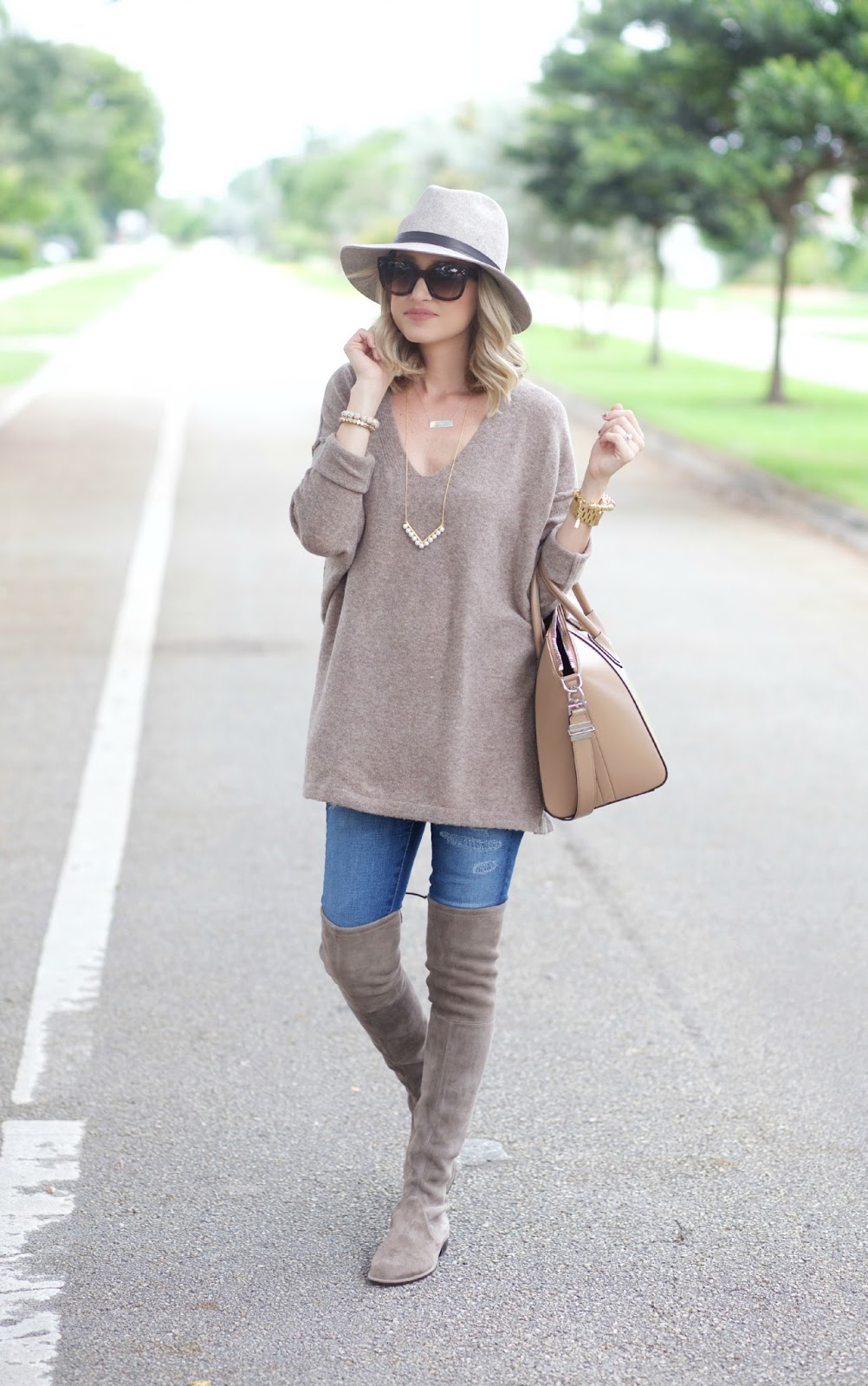 A Spoonful of Style: Oversized Sweater and Over the Knee Boots...