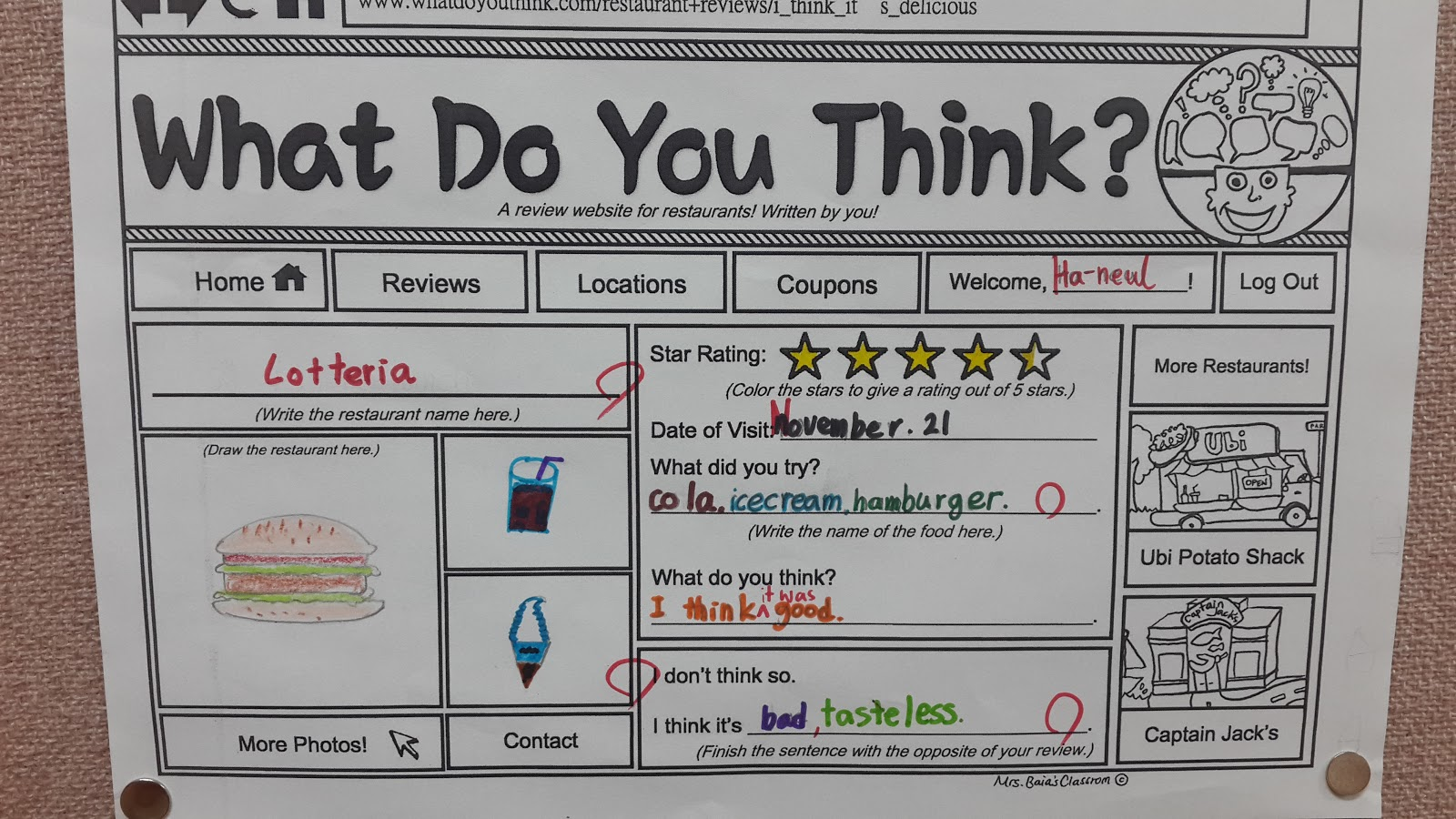 "Restaurant Web Review Worksheet ESL Lesson ""What Do You Think"