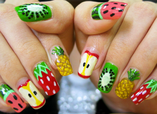 Cute Fruity Colorful Nail Art