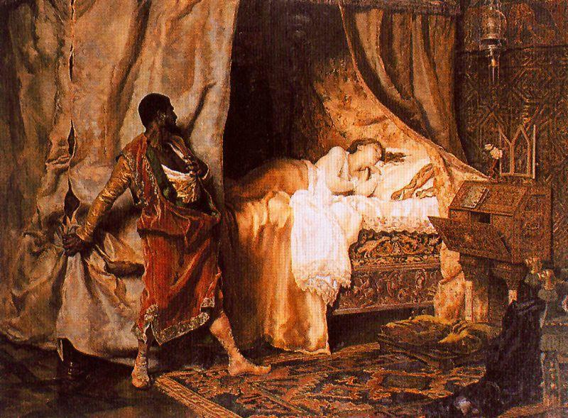Simult  225 neamente Yago hace nacer en el   225 nimo de Otelo la sospecha de    Othello And Desdemona Art