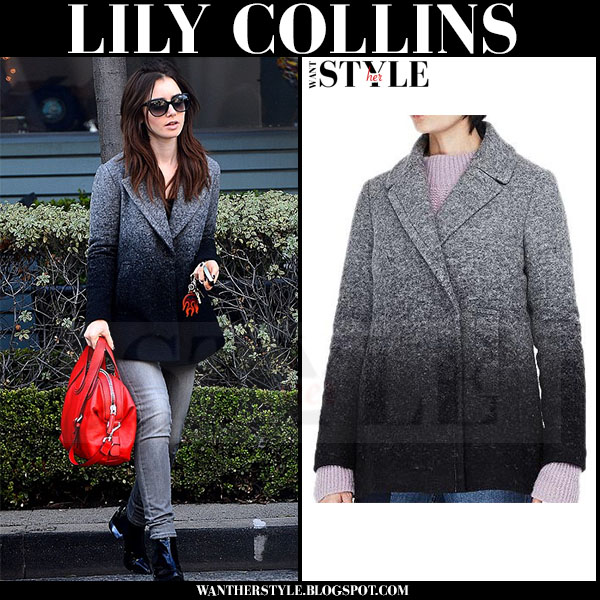Lily Collins in ombre wool armani exchange coat with red leather bag givenchy nightingale what she wore
