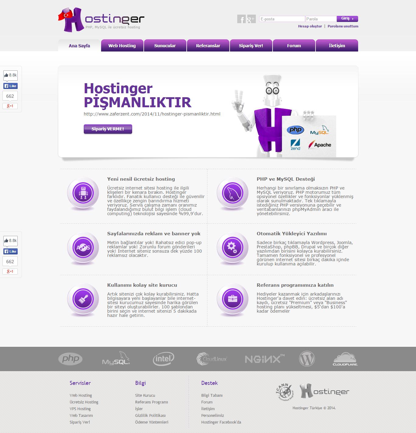Ücretsiz Hosting Sağlayıcısı Hostinger Pişmanlıktır