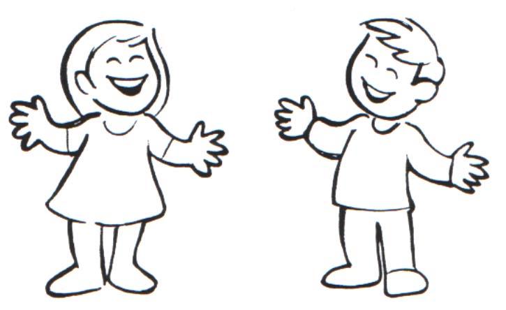Silueta de niño y niña para colorear - Imagui