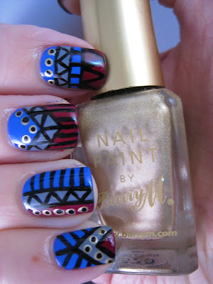 Tribal-nail-art-blue-grey-red-gold-Barry-M-Foil-Effect