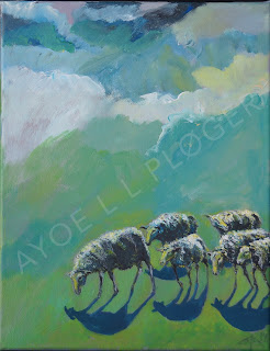 får,marsk,kunst,moderne,art,acryl,maleri,sheep,nature,himmel, veather,vejt, blå,grøn,paint
