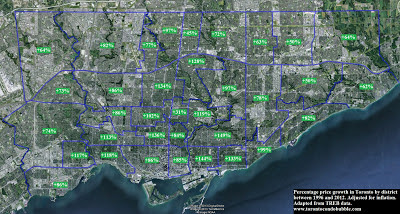 toronto real estate price increase from 1996 to 2012
