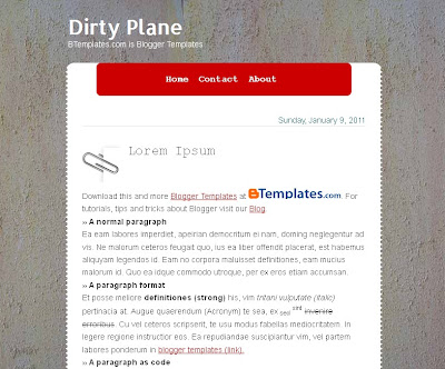 DirtyPlane 1 column Blogger Template