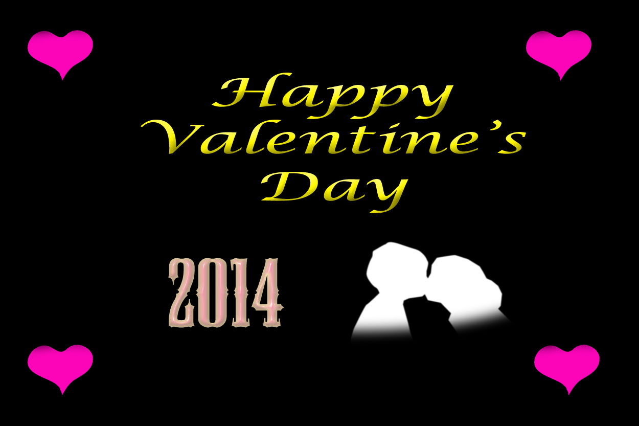 Happy Valentines Day 2014 with black background