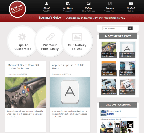 PickPress Blogger Template