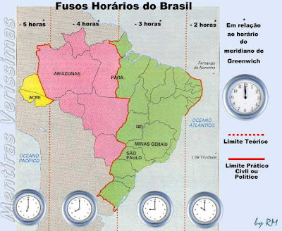 Mapa do brasil mostrando os quatro fusos horários existentes no país