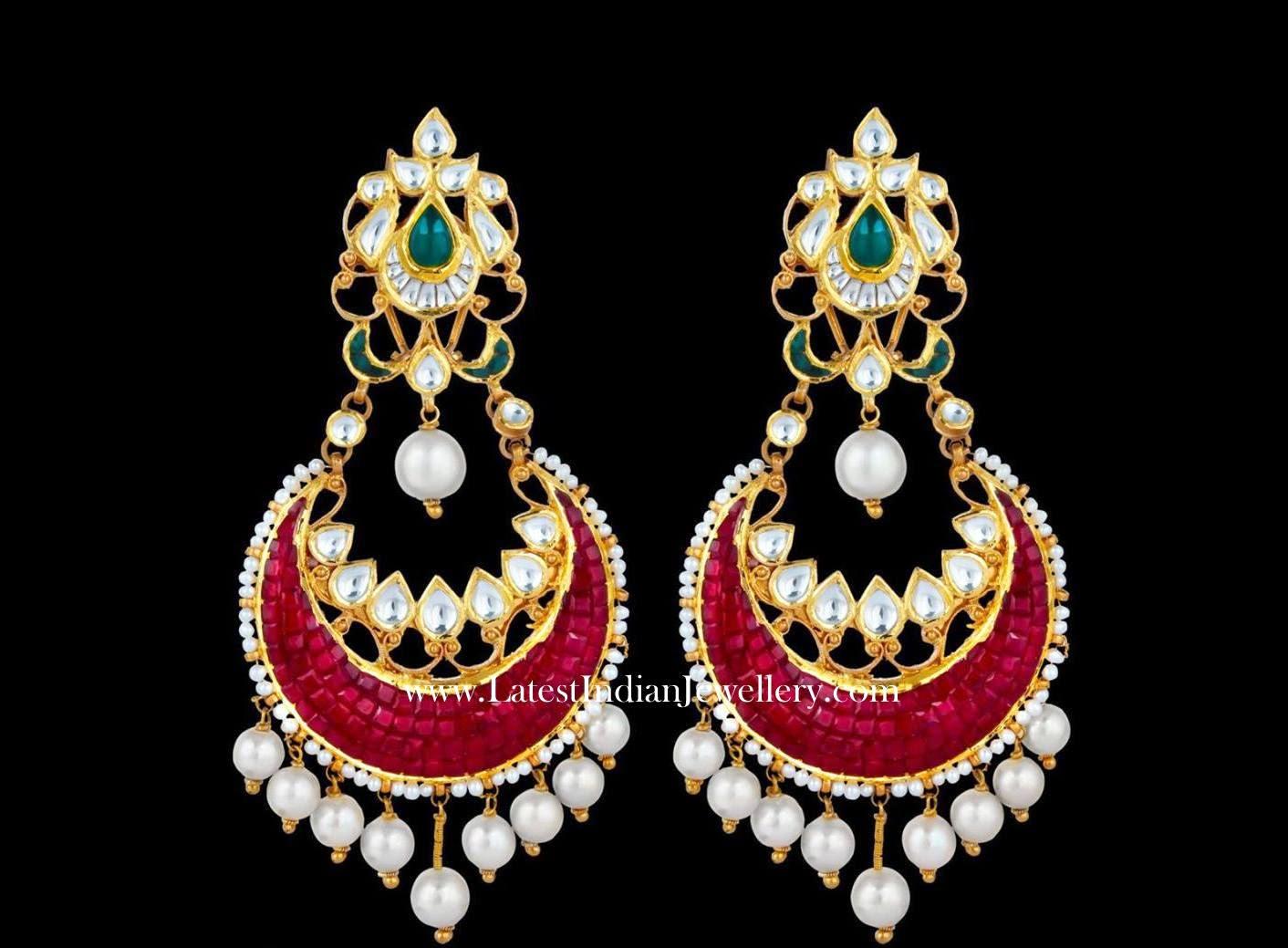 Grand Ruby Chand Bali Earrings